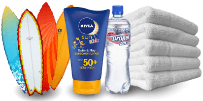 surf lesson equipment: towels, surfboard, water, sunscreen, rash guards